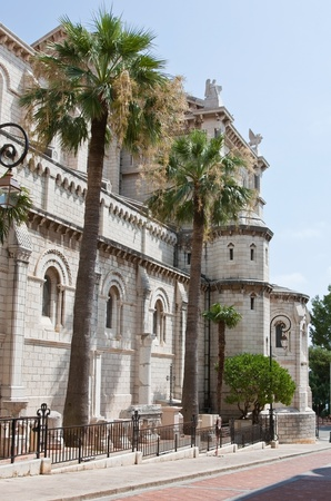 ville: A side-view of Monaco Cathedral in Monaco Ville