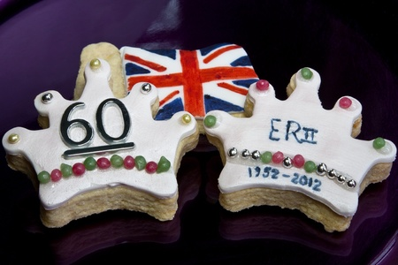 queen elizabeth: Crown Flag cookies representing the Union Jack &amp, the diamond jubilee of Queen Elizabeth II  Stock Photo
