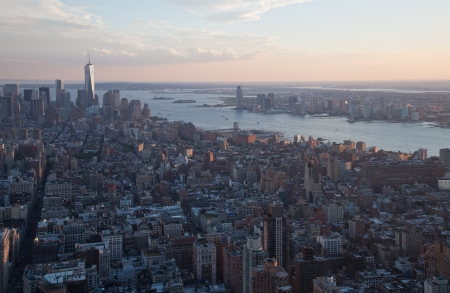 A view of downtown Manhattan at dusk from the Empire State Building photo