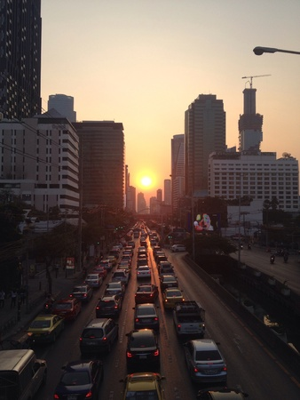 silom: Bangkok traffic jam in the morning