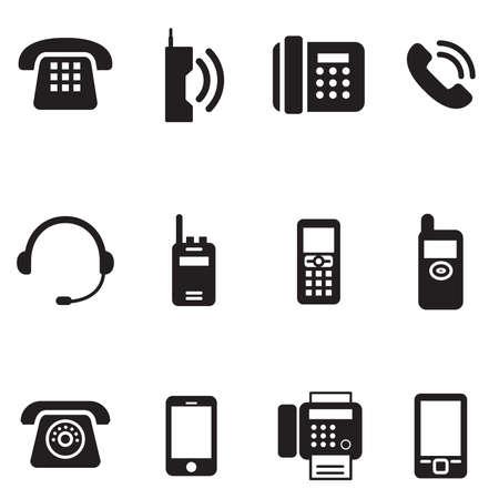 telephone: communication, call, phone vintage, retro telephone Vector Illustration Set
