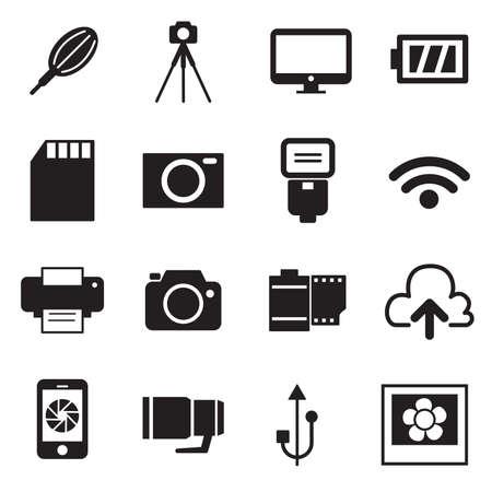 slr camera: Camera Icons and Camera Accessories Icons vector illustration symbol