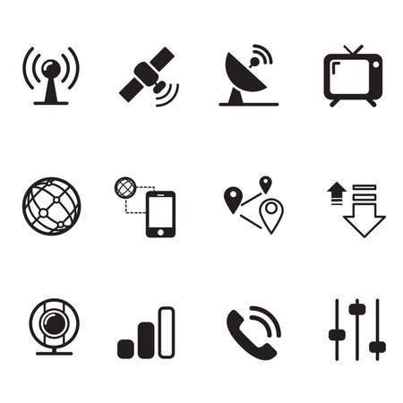 international monitoring: Satelite communication technology icons set