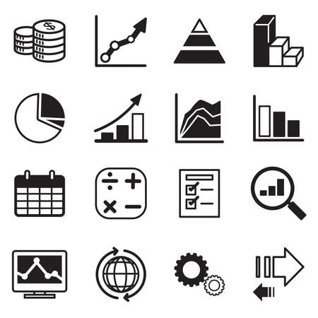 business sign: Simple set of diagram and graphs related vector icons set