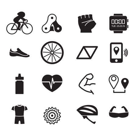 water sport: Biking icons Vector illustration set