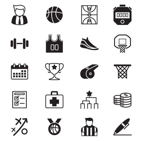 sports league: Basketball tournament icons Vector illustration set Stock Photo