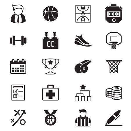 icono deportes: Torneo de baloncesto Iconos Ilustraci�n vectorial conjunto Foto de archivo