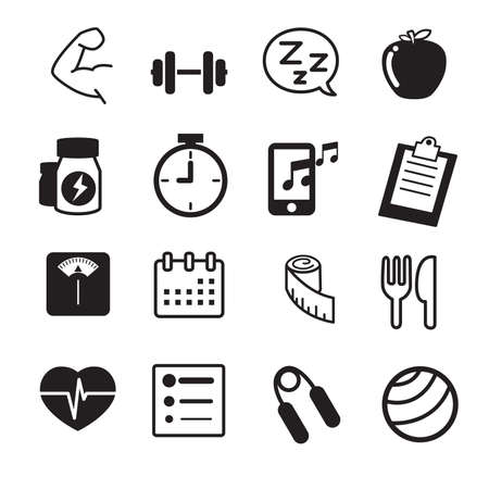 water sport: Fitness and dieting icons Vector illustration set Stock Photo