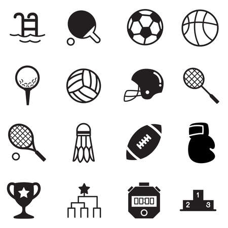 symbol sport: Basics Sport Icons Vektor Symbolsatz Lizenzfreie Bilder
