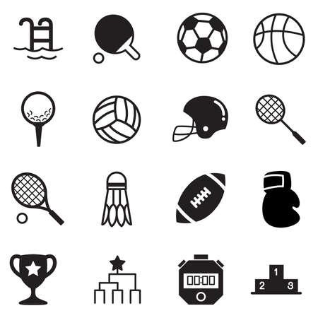 icono deportes: Fundamentos Deportes Iconos Vector s�mbolo de conjunto Foto de archivo