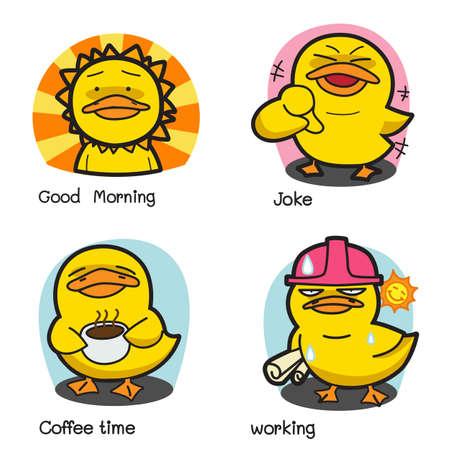 pato caricatura: Cartoon Duck Vector Set 1