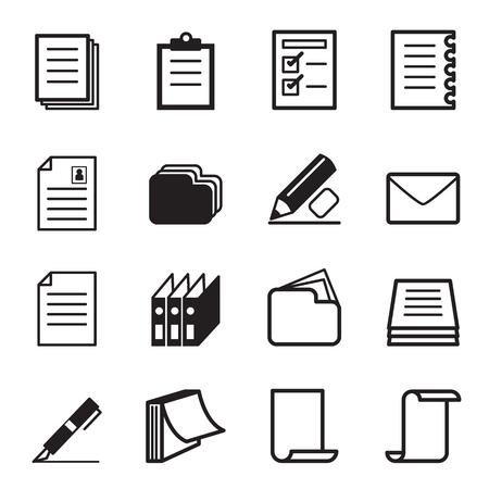 pluma y papel: Papeler�a icono Set