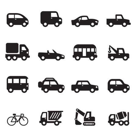 internet traffic: Sihouette car icons set