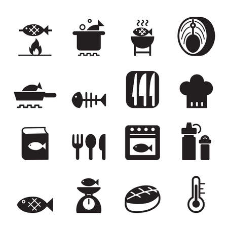 cooking icon: Fish cooking icon set Vectores
