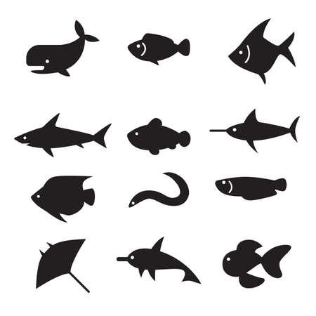 siluetas de animales: silueta icono de pescado conjunto Vectores