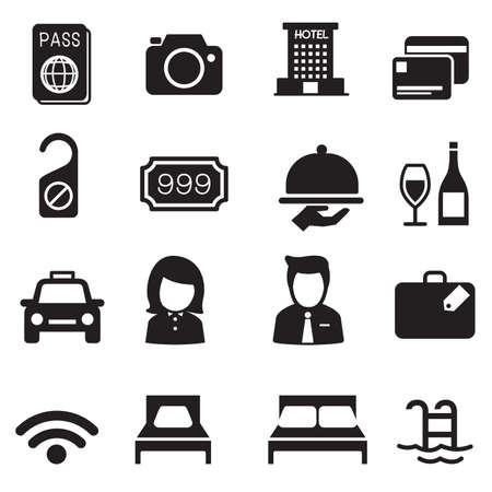 hotel room: Hotel silhouette icons Set