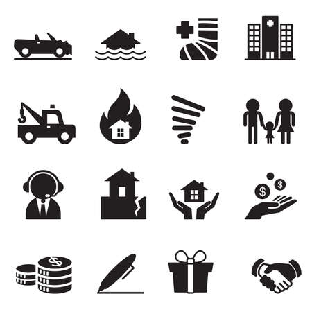 symbol: Insurance Icons Vector Illustration Symbol Set 2