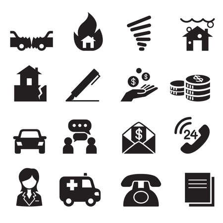 severance: Insurance Icons Vector Illustration Symbol Set3