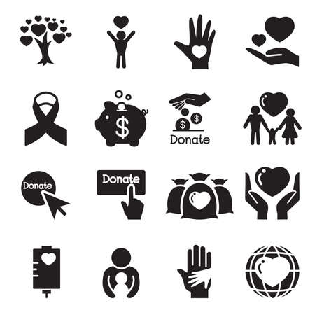 human hand: Silhouette Donation  giving icons set