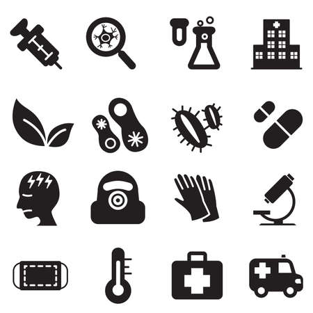 hospital symbol: Silhouette virus Diaster icon set Illustration
