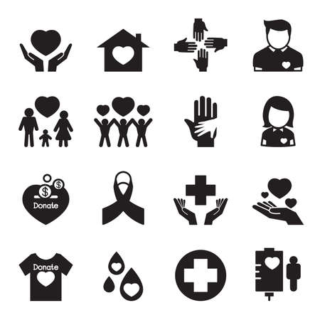 social awareness symbol: Silhouette Give and Protect icons Set Illustration