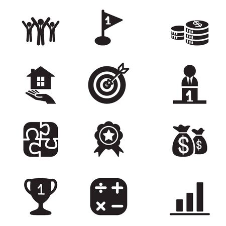 real trophy: Silhouette Business goal Concept icons set