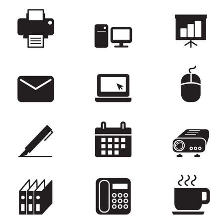 silhouette Business office tools icon set Stock Photo