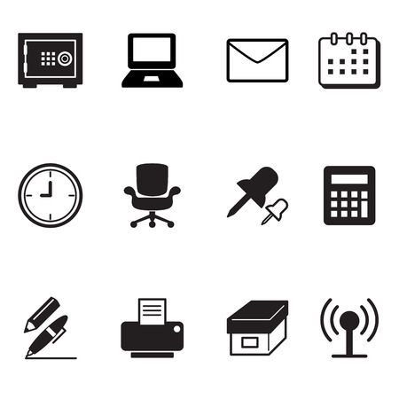 office tools: office tools and stationery icons set