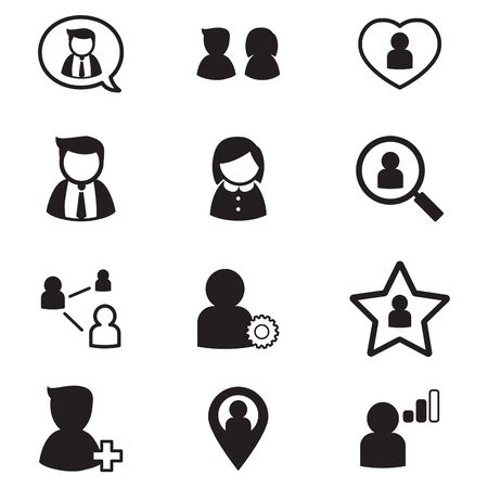 relation: user , group, relation  icons set  for social network application