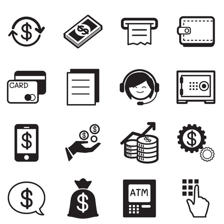 sms payment: Finance  banking icons, credit card, atm Illustration Vector Symbol