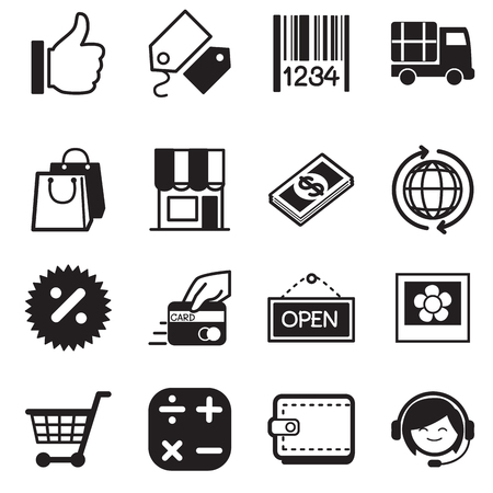 Shopping online silhouette icons Vectores