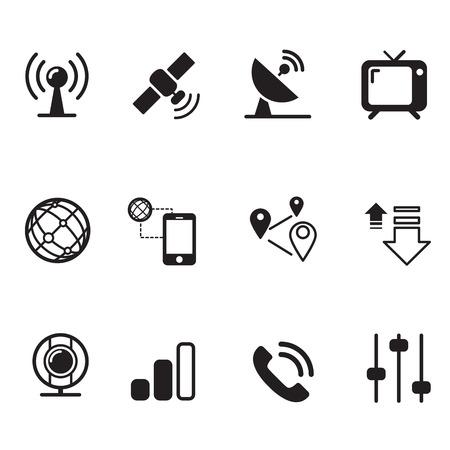 international monitoring: Satellite communication technology silhouette icons set Illustration