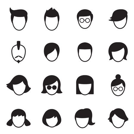 hair style: Hair style icons Set Illustration