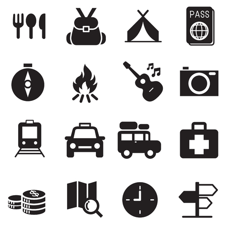 Discovery Traveling camping icons set