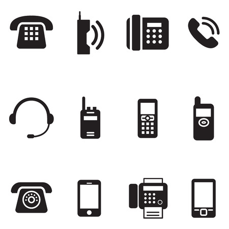touch base: communication, call, phone vintage, retro telephone Vector Illustration Set