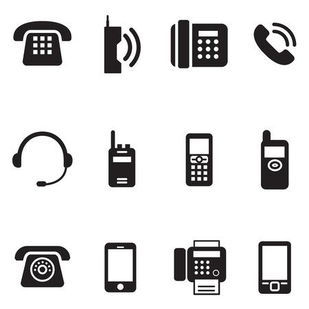 communication, call, phone vintage, retro telephone Vector Illustration Set