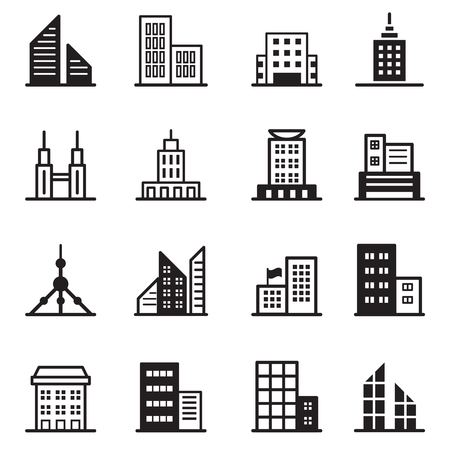 residential zone: Building , tower, Architectural icons Vector illustration symbol set Illustration
