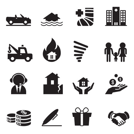 gift accident: Insurance Icons Vector Illustration Symbol Set 2