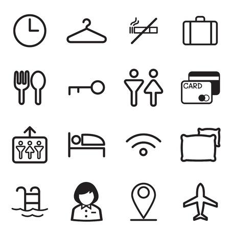 air port: Hotel, hostel, motel icons Illustration vector Symbol