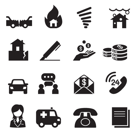 signing agent: Insurance Icons Vector Illustration Symbol Set3
