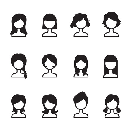 Woman hair style icons vector symbol iIllustration Set