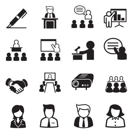 business meetings: business management icons Illustration