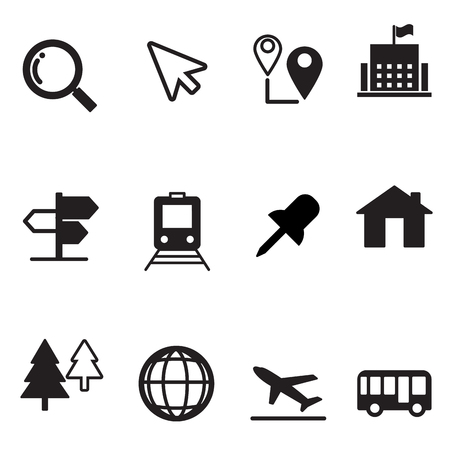 tree world tree service: Map icons set