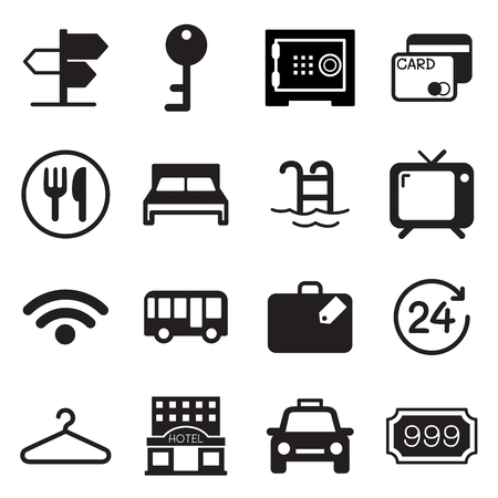 hostel: Hotel  hostel icons set Illustration