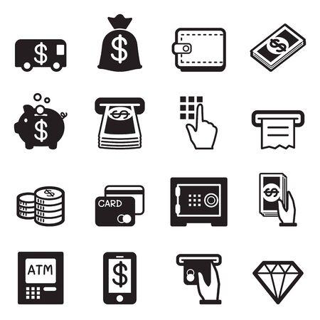 deposit slips: Money, finance, banking credit card icons vector Illustration