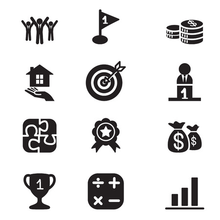 Silhouette Business goal Concept icons set
