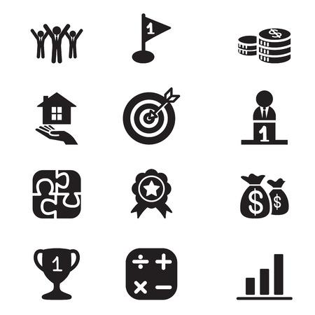 Silueta Negocios iconos Concepto objetivo fijado