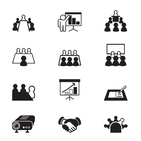 client meeting: business meeting and Conference icons set