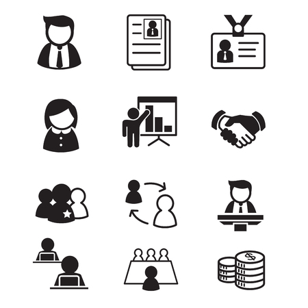 human resource  staff  management icons set illustration