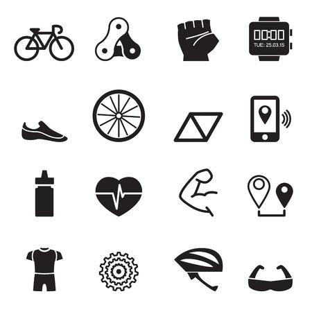 biking glove: Bicycle icons set